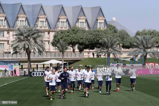 Players run during a training session on day 2 of the FC Bayern Muenchen training camp at ASPIRE Academy for Sports Excellence on January 3 2018 in...