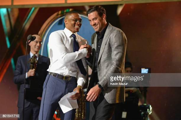 NBA players Russell Westbrook and Nick Collison celebrate onstage during the 2017 NBA Awards Live on TNT on June 26 2017 in New York New York...