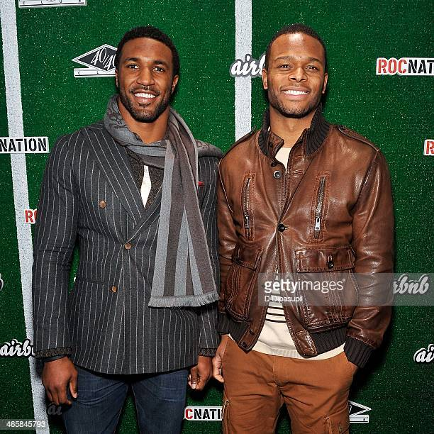 NFL players Ryan Mundy and Will Allen attend the Airbnb Super Suite at Roc Nation Sports Airbnb's Welcome To New York event at 40 / 40 Club on...