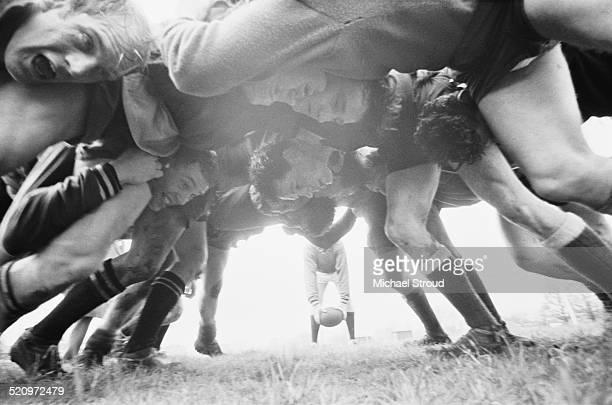 Players scrum down in the England v Scotland Calcutta Cup match Twickenham London 15th March 1969