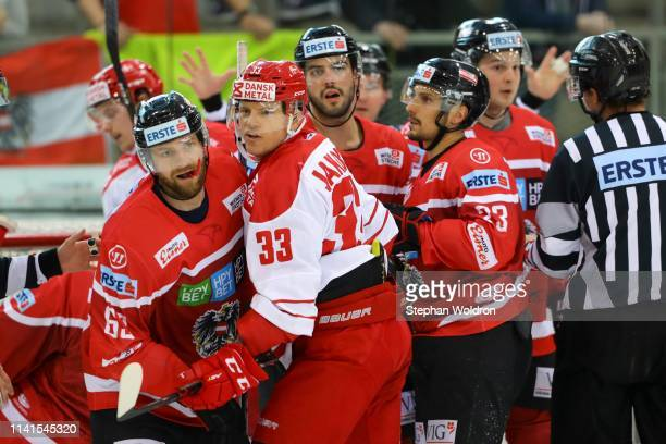 Players scuffle during the Austria v Denmark - Ice Hockey International Friendly at Erste Bank Arena on May 5, 2019 in Vienna, Austria.