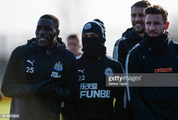 Players seen LR Massadio Haidara DeAndre Yedlin Florian Lejeune and Paul Dummett look on during the Newcastle United Training session at the...