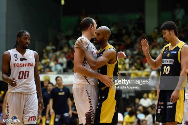 Players shake hands after the BLeague Kanto Early Cup 3rd place match between Kawasaki Brave Thunders and Tochigi Brex at Funabashi Arena on...