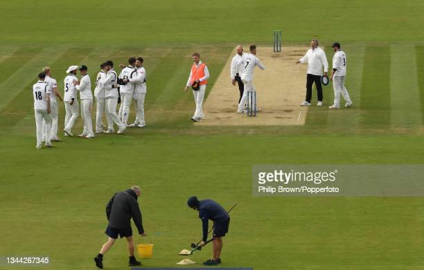 Players shake hands after the Bob Willis Trophy Final between Warwickshire and Lancashire at Lord's Cricket Ground on October 01, 2021 in London,...