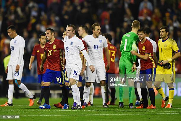 Players shake hands after the international friendly match between Spain and England at Jose Rico Perez Stadium on November 13 2015 in Alicante Spain