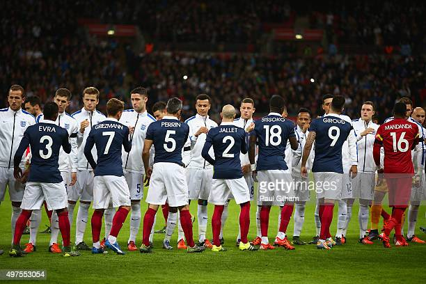 Players shake hands prior to the International Friendly match between England and France at Wembley Stadium on November 17 2015 in London England