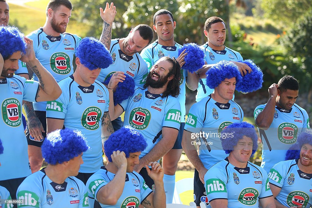 Players share a joke during the New South Wales Blues team photo at the Novotel on June 10, 2015 in Coffs Harbour, Australia.