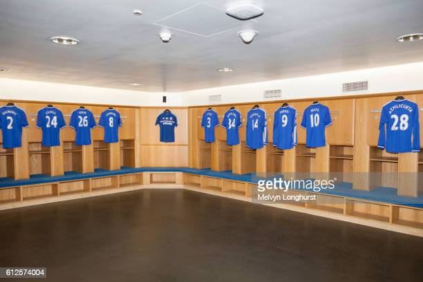 Players' shirts in home team changing room, Chelsea Football Club, Stamford Bridge, London, England
