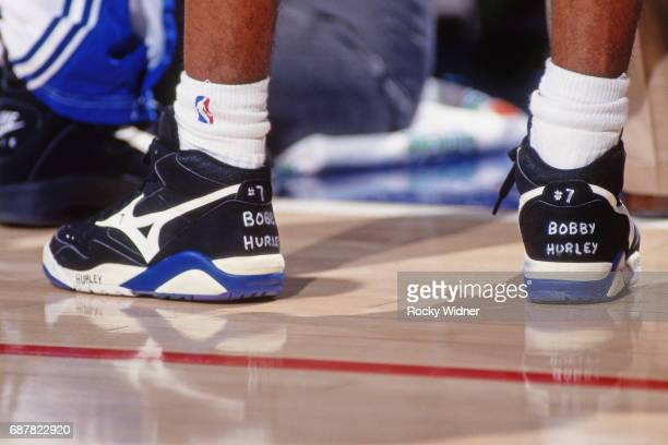 A players shows support on his sneaker for Bobby Hurley of the Sacramento Kings circa 1994 at Arco Arena in Sacramento California NOTE TO USER User...