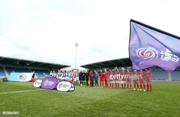 Players sing the national anthem during the FA Women's Premier League Cup Final between Blackburn Rovers Ladies and Leicester City at Proact Stadium...