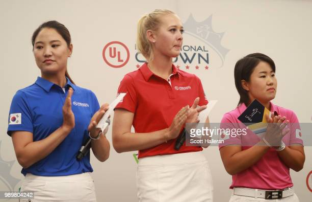 LPGA players So Yeon Ryu of South Korea Jessica Korda of the United States Nasa Hataoka of Japan appear on stage at the UL International Crown Press...