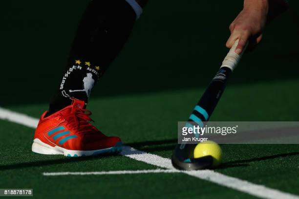 A players sock is seen during the Quarter final match between Germany and France during Day 6 of the FIH Hockey World League Men's Semi Finals on...