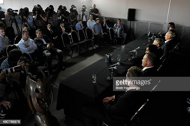 Players speak to the media during the official 2015 NRL Grand Final press conference at The Star Room on October 1 2015 in Sydney Australia