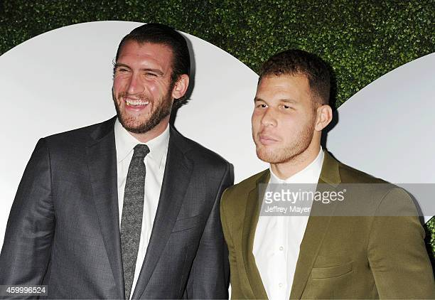 NBA players Spencer Hawes and Blake Griffin arrive at the 2014 GQ Men Of The Year Party at Chateau Marmont on December 4 2014 in Los Angeles...