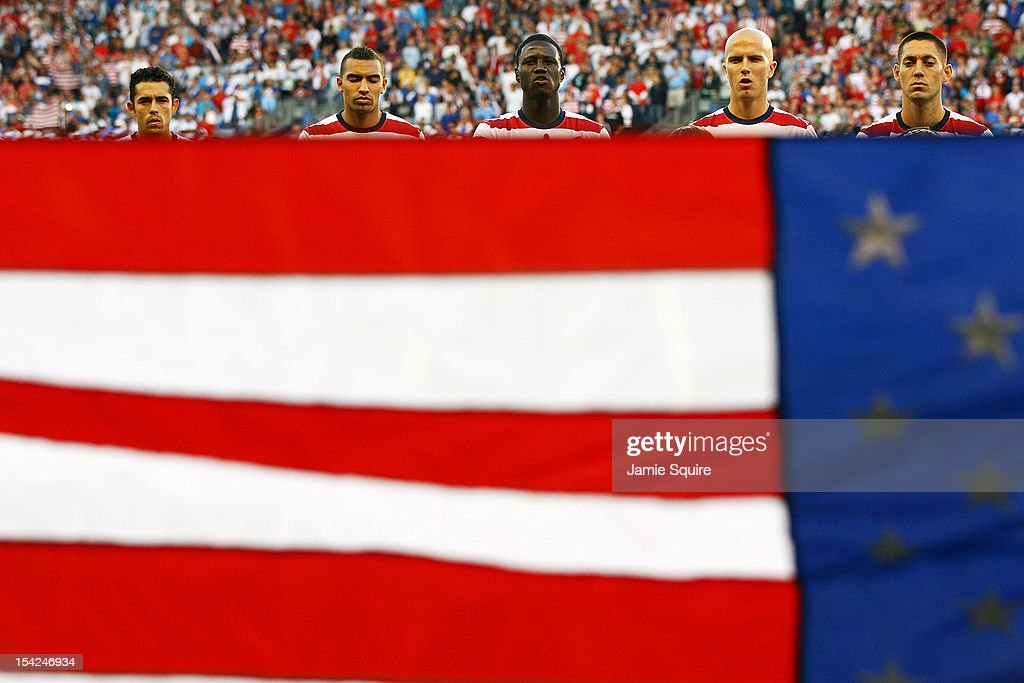 USA players stand during the National Anthem prior to the World Cup Qualifying match against Guatemala at LiveStrong Sporting Park on October 16, 2012 in Kansas City, Kansas.