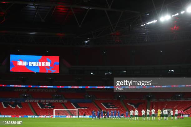 Players stand for a minutes silence in honour of 'Nobby' Styles during the international friendly match between England and the Republic of Ireland...