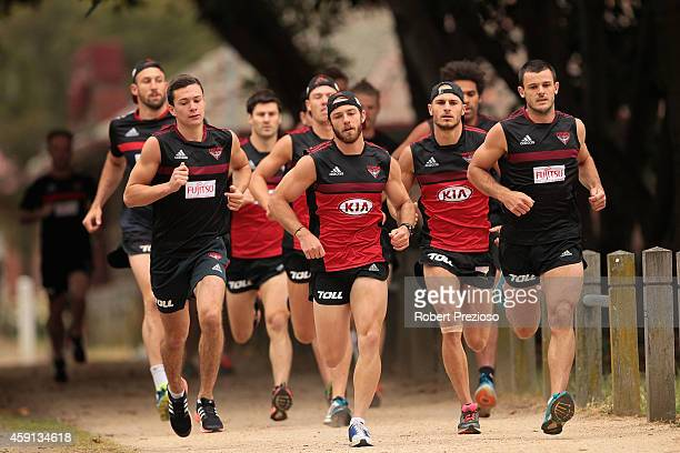 Players start their 2km time trial during an Essendon Bombers AFL preseason training session at Princes Park on November 18 2014 in Melbourne...