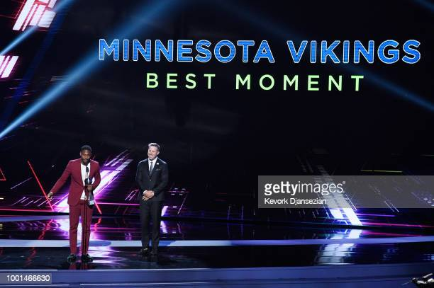 NFL players Stefon Diggs and Case Keenum accept the award for Best Moment onstage at The 2018 ESPYS at Microsoft Theater on July 18 2018 in Los...