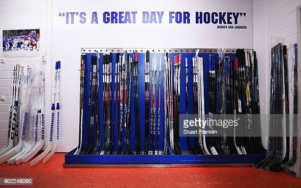 Players sticks are lined up during practice for Team Finland at the Hartwell Areena on September 7 2016 in Helsinki Finland