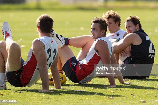 Players stretch during a Melbourne Demons AFL training session at Gosch's Paddock on February 20 2014 in Melbourne Australia