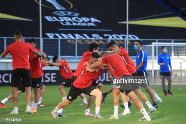 Players stretch during an Sevilla FC Training Session And Press Conference at MSV Arena on August 05 2020 in Duisburg Germany
