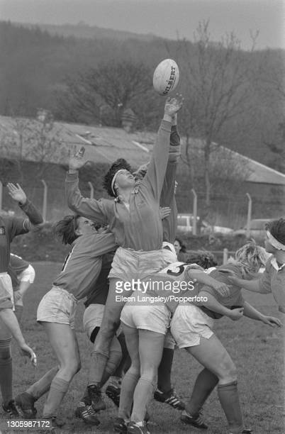 Players stretch for possession of the ball during a lineout in the pool 3 match between Netherlands and the Soviet Union on the second day of...