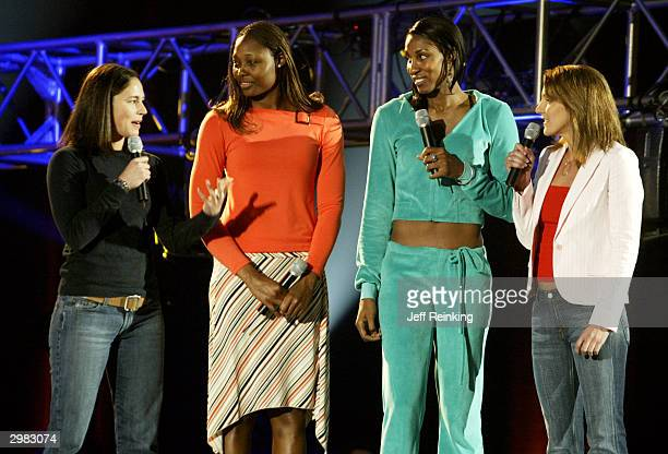 WNBA players Sue Bird of the Seattle Storm Cheryl Ford of the Detroit Shock Lisa Leslie of the Los Angeles Sparks and TV host Summer Sanders talk...