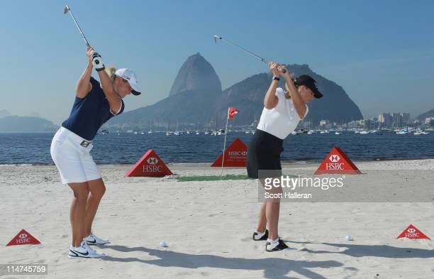 Players Suzann Pettersen of Norway and Cristie Kerr of the USA play shots at Botafogo Beach prior to the start of the HSBC LPGA Brazil Cup on May 26,...