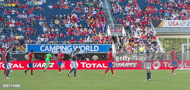 Players take a water break at group A match between Costa Rica and Paraguay at Camping World Stadium as part of Copa America Centenario US 2016 on...