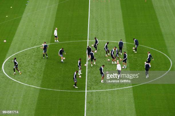 Players take part during a France Training Session at Saint Petersburg Stadium on July 9 2018 in Saint Petersburg Russia