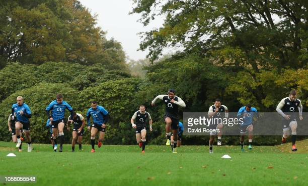 Players take part in a drill during an England training session at Pennyhill Park on November 6 2018 in Bagshot England