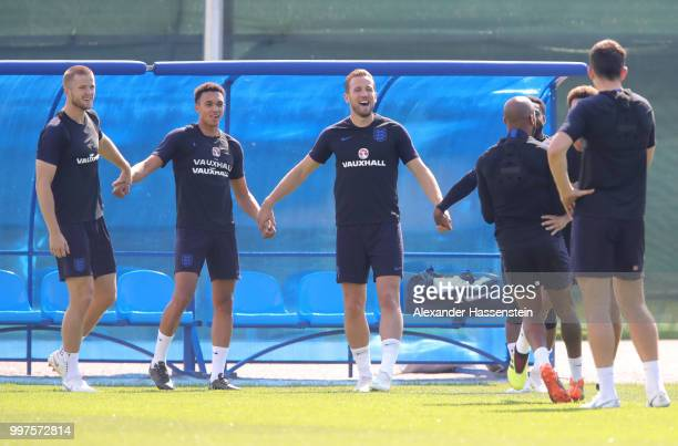 Players take part in a drill during an England training session during the 2018 FIFA World Cup Russia at Spartak Zelenogorsk Stadium on July 13 2018...