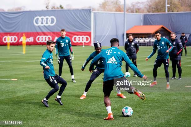 Players take part in a FC Bayern Muenchen training session at Saebener Strasse training ground on April 16, 2021 in Munich, Germany.