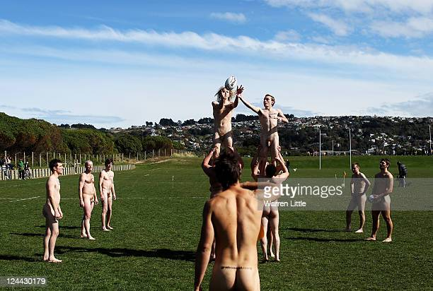 Players take part in a line out during a nude rugby match between the Nude Blacks and Spanish Conquistadors at Dunedin Rugby Club Kettle Park on...