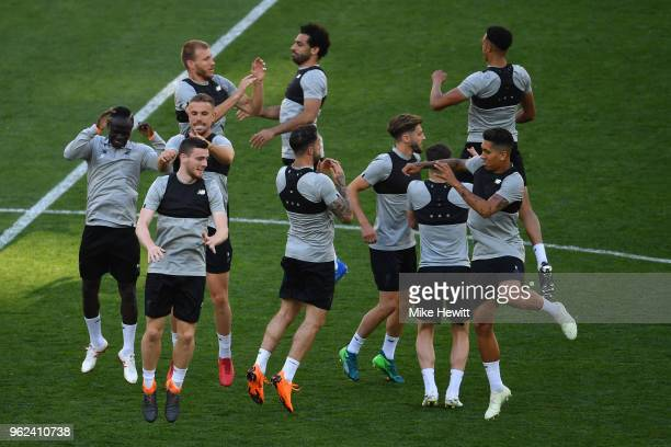 Players take part in a Liverpool training session ahead of the UEFA Champions League final between Real Madrid and Liverpool at the NSC Olimpiyskiy...