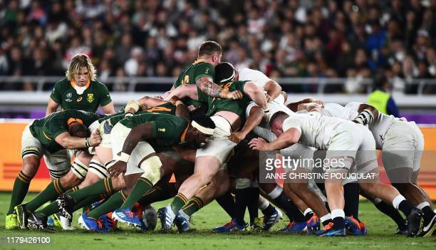 Players take part in a scrum during the Japan 2019 Rugby World Cup final match between England and South Africa at the International Stadium Yokohama...