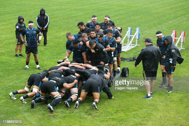 Players take part in scrum drills during a Hurricanes Super Rugby training session at Rugby League Park on March 27 2019 in Wellington New Zealand