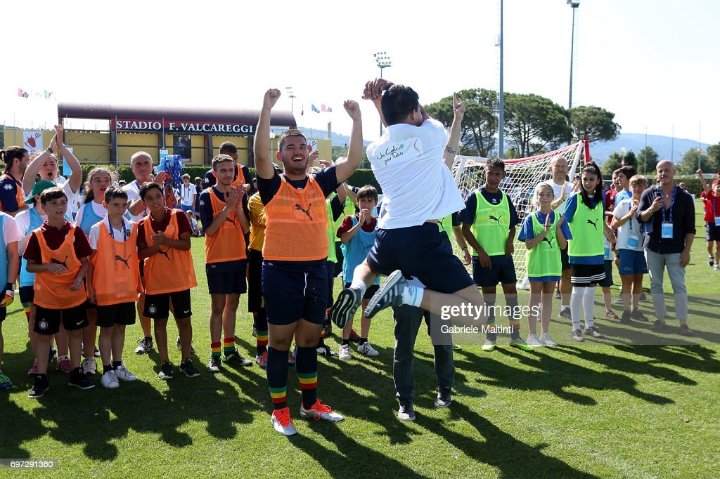 Players take part in the Italian Football Federation during 9th Grassroots Festival at Coverciano on June 18, 2017 in Florence, Italy.