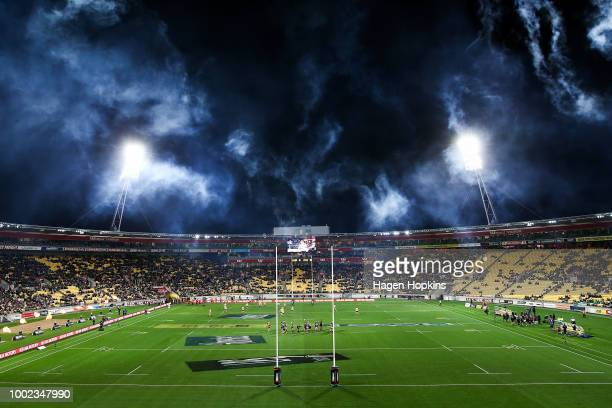 Players take the field during the Super Rugby Qualifying Final match between the Hurricanes and the Chiefs at Westpac Stadium on July 20 2018 in...