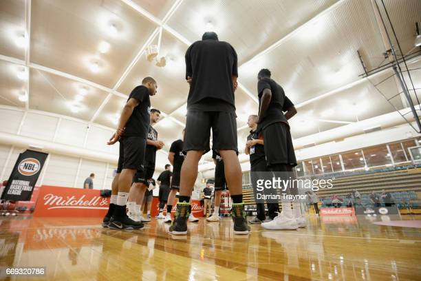 Players talk tactics during the NBL Combine 2017/18 at Melbourne Sports and Aquatic Centre on April 17 2017 in Melbourne Australia