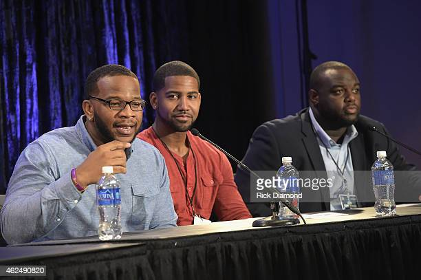 NFL players Terrence Stephens Cam Newton and Michael Gaines speak onstage at the 16th Annual Super Bowl Gospel Celebration Press Conference on...