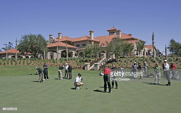 Players test out the new putting green near the first tee during practice for THE PLAYERS Championship held on THE PLAYERS Stadium Course at TPC...