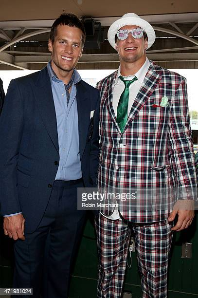 NFL players Tom Brady and Rob Gronkowski attend the 141st Kentucky Derby at Churchill Downs on May 2 2015 in Louisville Kentucky