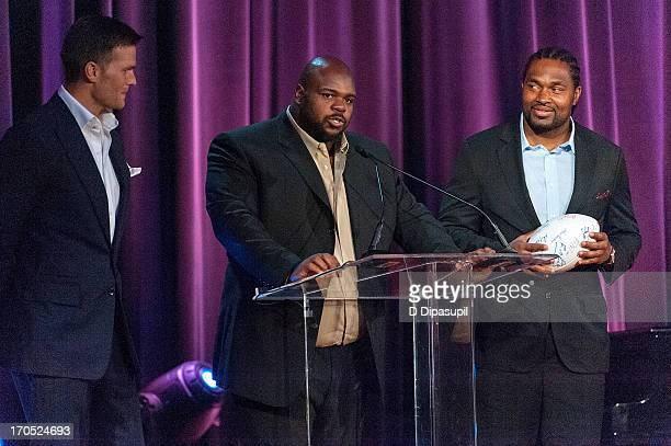 NFL players Tom Brady Vince Wilfork and Jerod Mayo attend the 2013 Carnegie Hall Medal Of Excellence Gala at The Waldorf=Astoria on June 13 2013 in...