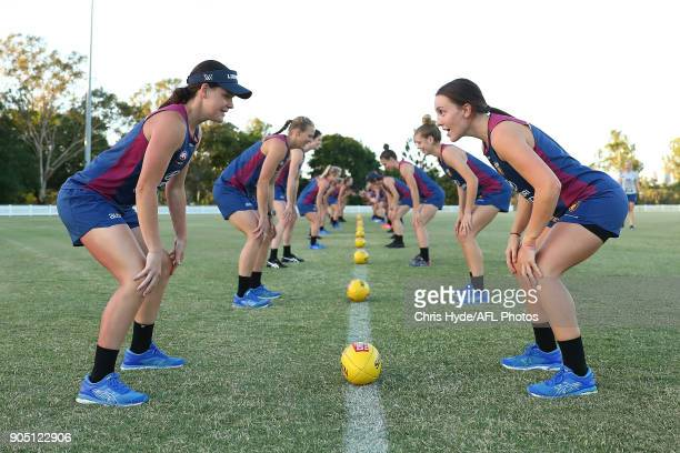 Players train during a Brisbane Lions AFL training session on January 15 2018 in Brisbane Australia