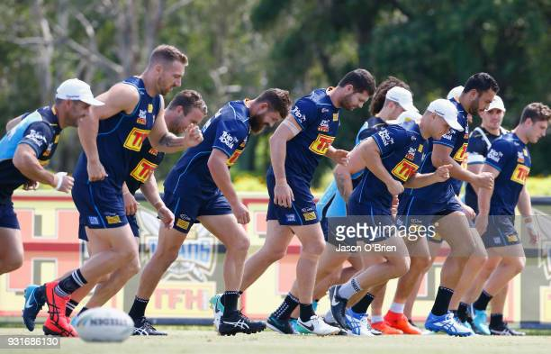 Players train during a Gold Coast Titans NRL training session at Parkwood on March 14 2018 in Gold Coast Australia