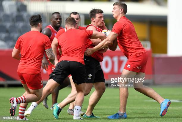 Players train during a Wales Rugby League World Cup captain's run at the Oil Search National Football Stadium on October 27 2017 in Port Moresby...