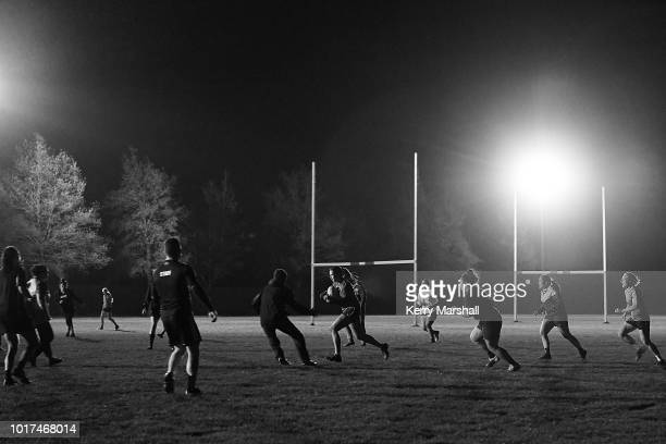 Players huddle during a Hawke's Bay Farah Palmer Cup training session at Tareha Park on August 16 2018 in Napier New Zealand