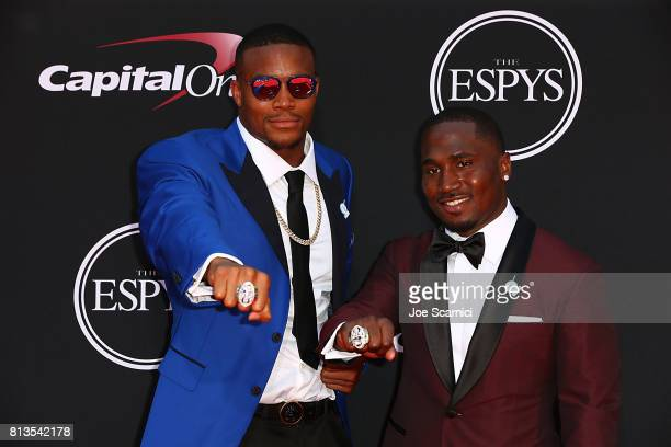 NFL players Trey Flowers and Dion Lewis arrive at the 2017 ESPYS at Microsoft Theater on July 12 2017 in Los Angeles California