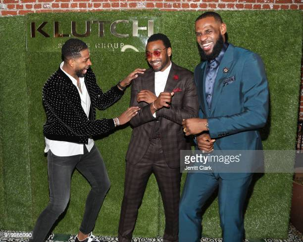 Players Tristan Thompson John Wall and Lebron James share a laugh at the Klutch Sports Group More Than A Game Dinner Presented by Remy Martin at...